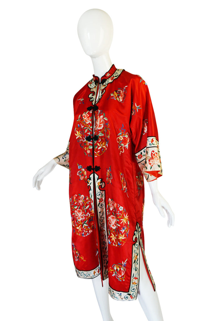 1950s Red Silk Embroidered Asian Evening Coat