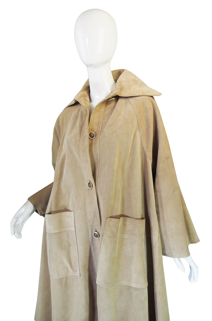 Amazing 1970s Christian Dior Suede Swing Coat