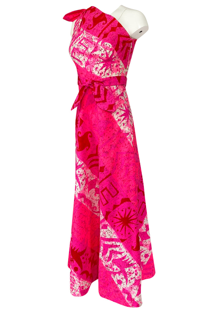 1960s B.Cohen One Shoulder Vibrant Pink Printed Barkcloth Hawaiian Dress