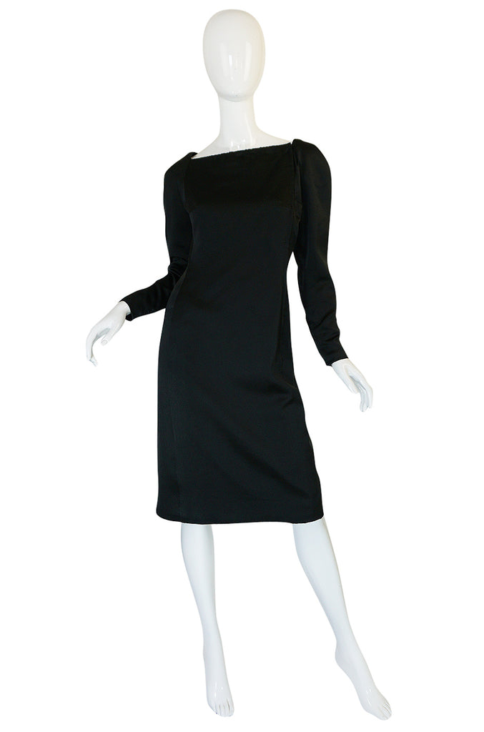 1980s Jacqueline Ribes Demi-Couture Silk Dress W Removable Collar