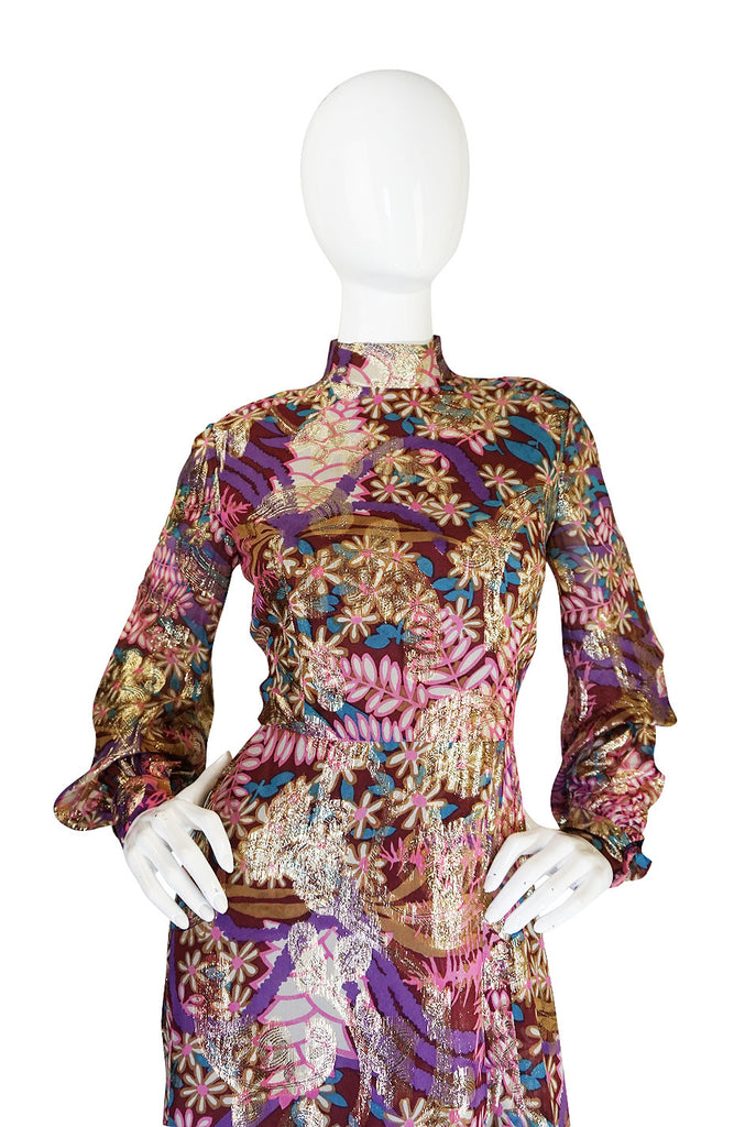 1960s Metallic Silk Chiffon Malcolm Starr Dress