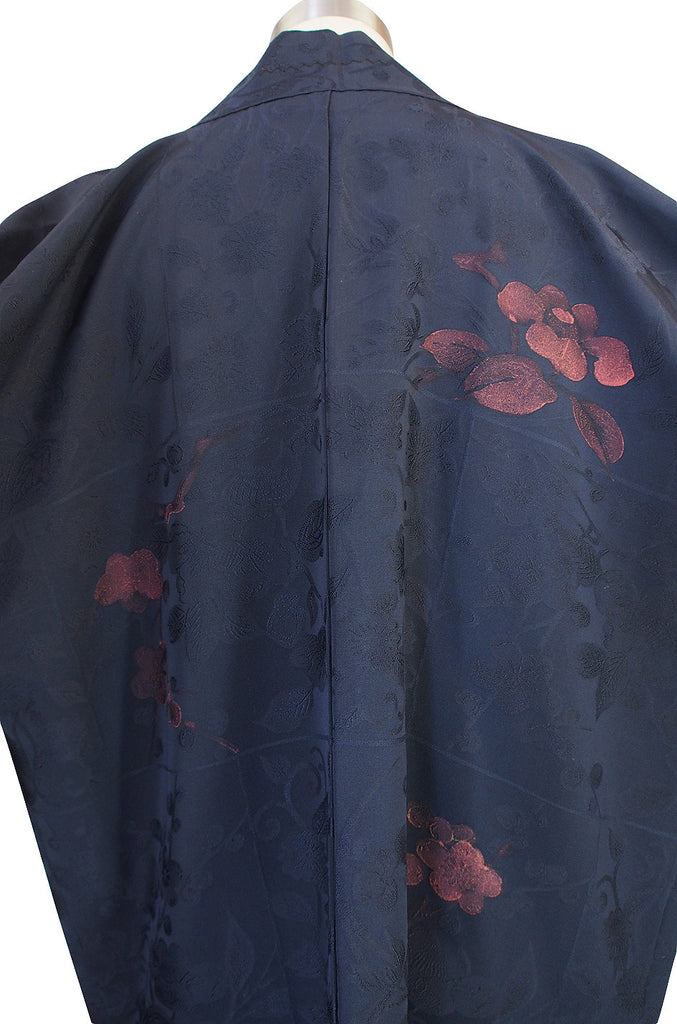 1950s Hand Painted Floral Deep Blue Silk Kimono