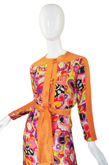1970s Citrus Silk Print Maxi Dress