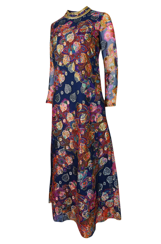 1960s B Cohen Gold Hearts & Blue Floral Print Organza Dress