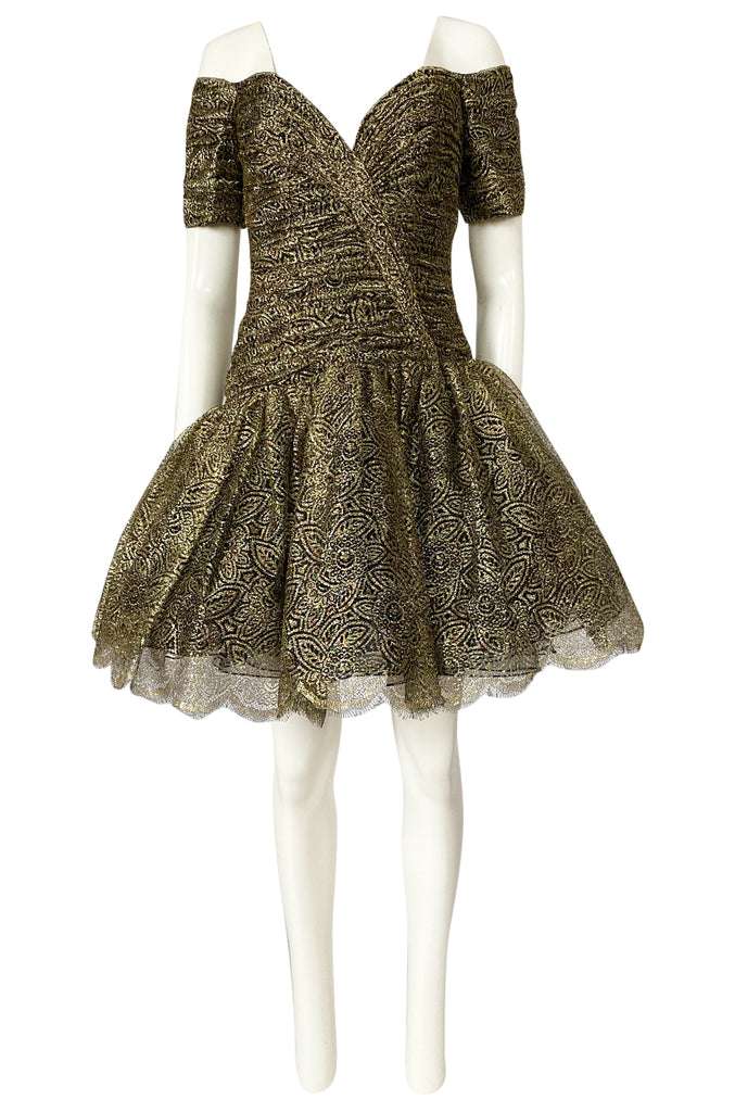 c.1984 Vicky Tiel Couture Metallic Gold & Black Lace Pouf Skirt Mini Dress
