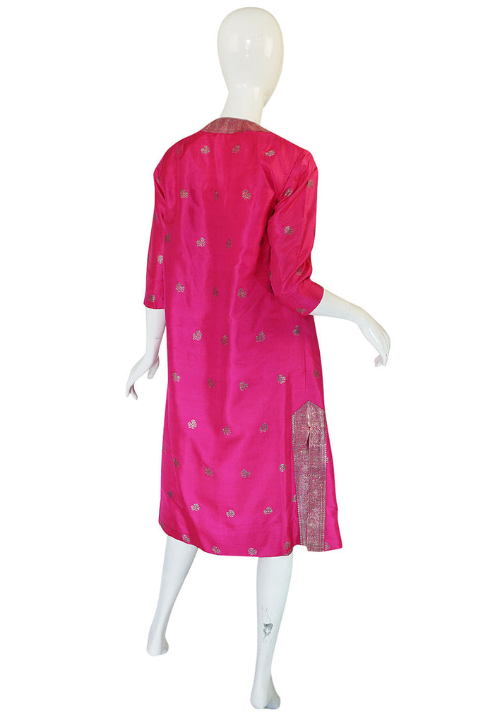 1950s Fine Tissue Silk Bright Pink Dress & Coat Set