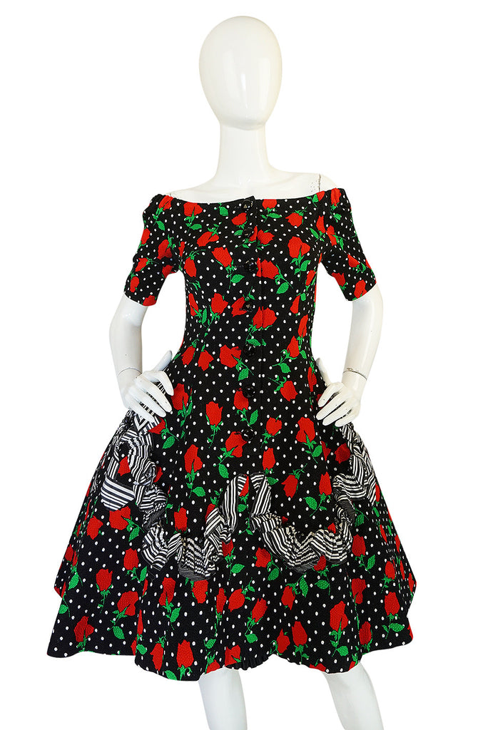 1980s Off Shoulder Christian Lacroix Couture Floral Dress