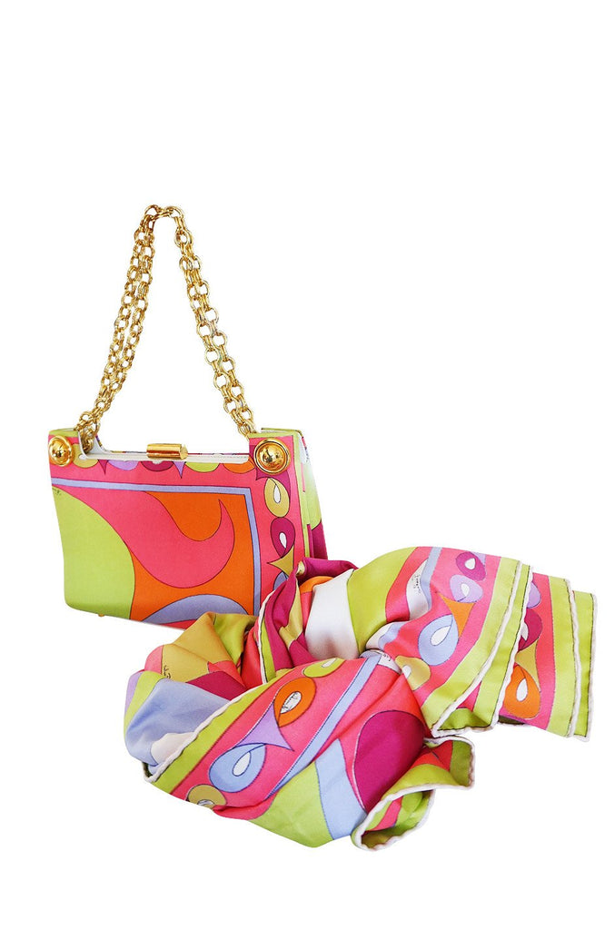 1960s Emilio Pucci Bright Pink Colorful Printed Bag & Matching Silk Scarf