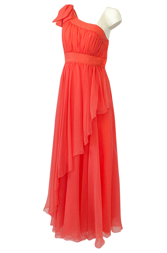 1960s Unlabeled Rhinestone Detailed Coral Chiffon One Shoulder Dress