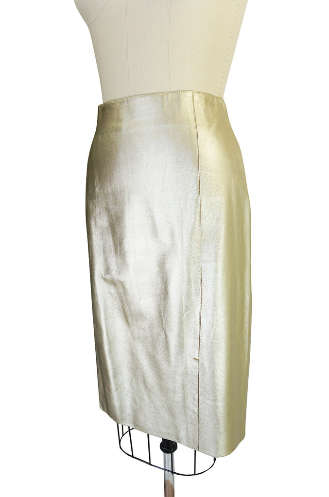 Recent Prada Muted Gold Fine Leather Skirt