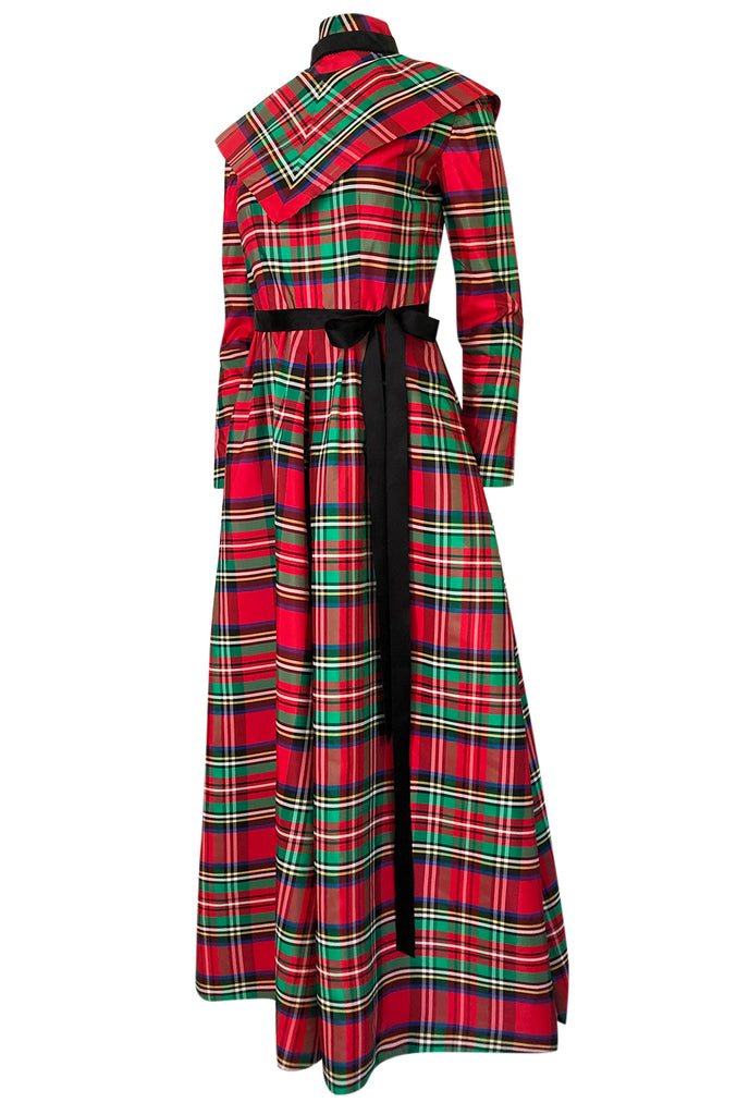 Early 1970s Geoffrey Beene Boutique Red Plaid Holiday Silk Taffeta Dress