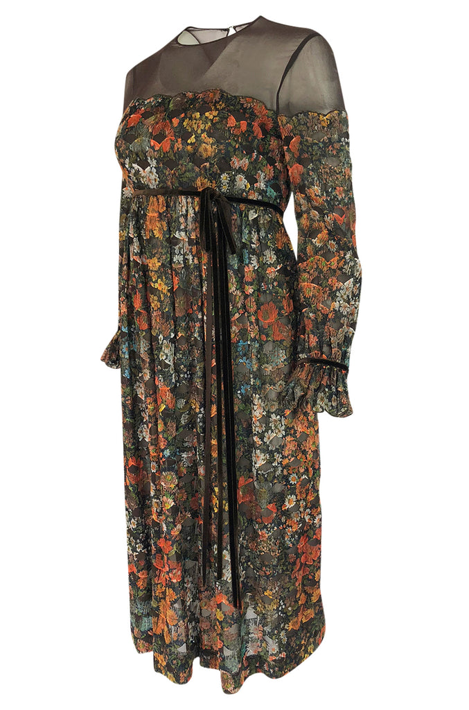 1960s Mignon Densely Embroidered on Brown Silk Chiffon Dress