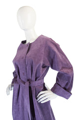 1972 Purple Ultrasuede Shirtwaist Halston Dress