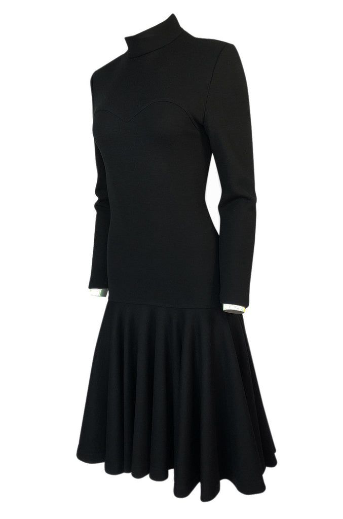 Fall 1988 Patrick Kelly Black Knit Fitted & Flared Skirt Dress