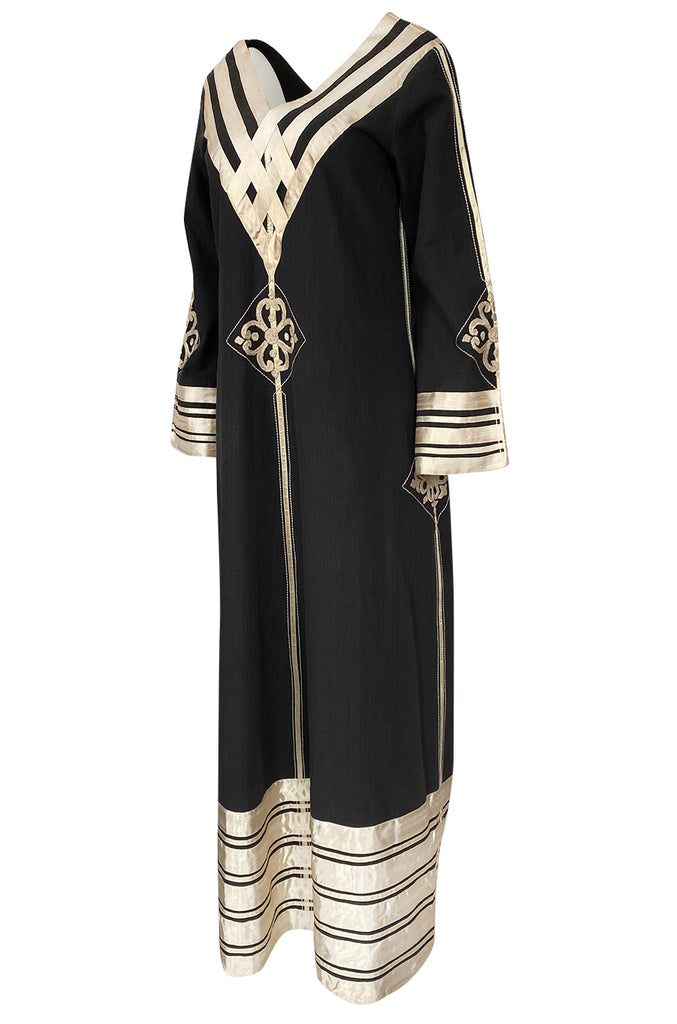 1960s Josefa Black Cotton, Gold Ribbon & Hand Embroidered Caftan Dress