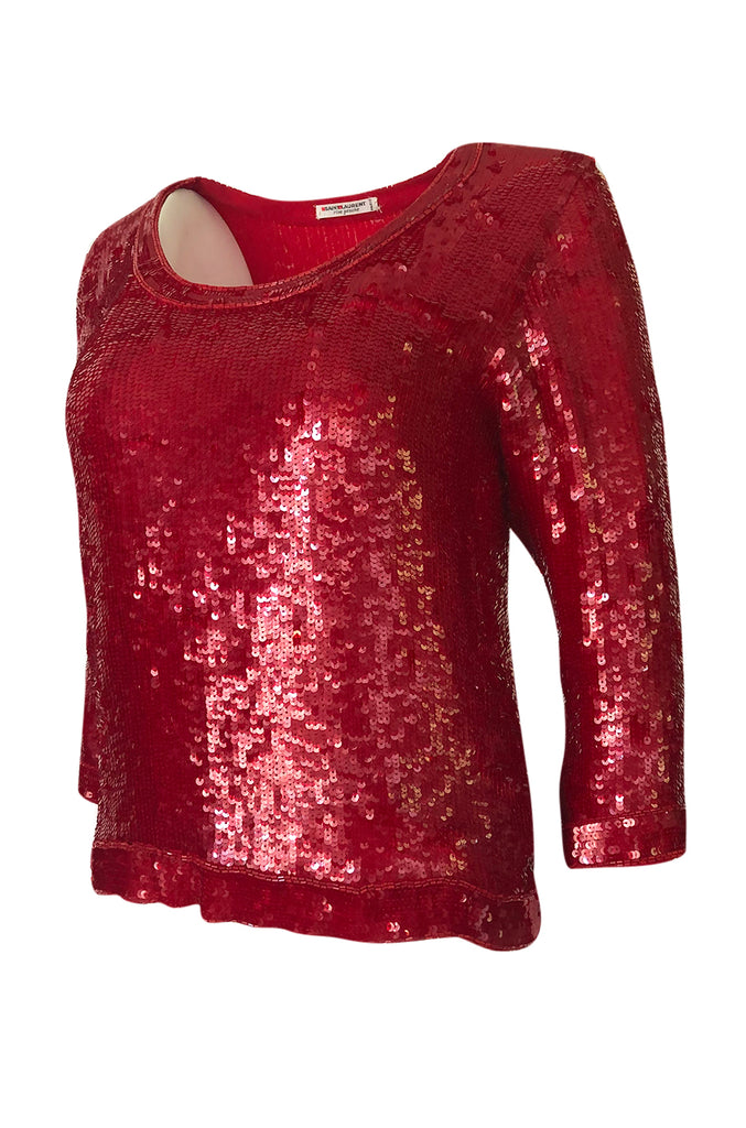 1980s Yves Saint Laurent Densely Covered Red Sequin Tunic Top