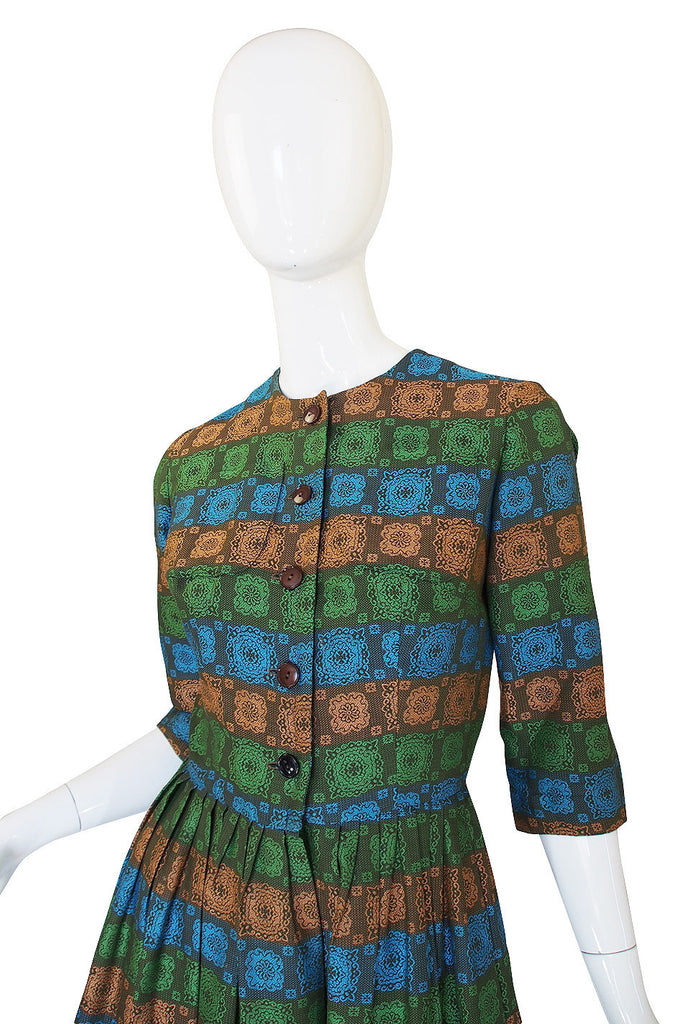 1950s Green Brocade Pocket Front Day Dress