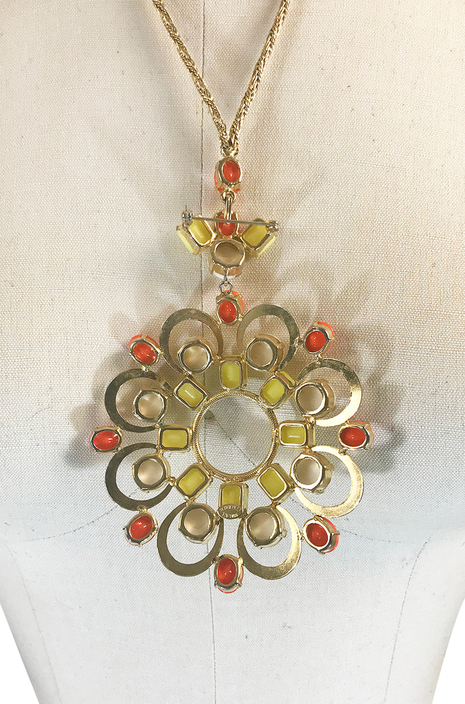 Exceptional 1960s Schreiner NY Poured Glass Brooch Necklace