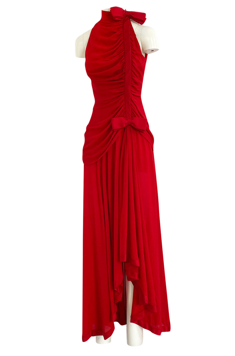 Documented Spring 1987 Valentino Haute Couture Red Silk Crepe Dress w Bow Details