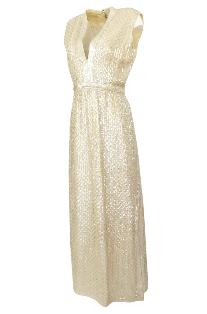 1960s Fred Perlberg Long Ivory Fully Sequinned Plunge Dress
