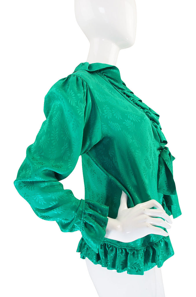 1970s Yves Saint Laurent Green Silk Ruffled Poet Top