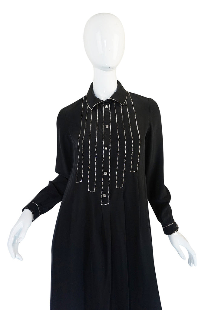 1960s Black Silk Sequin Front Geoffrey Beene Dress