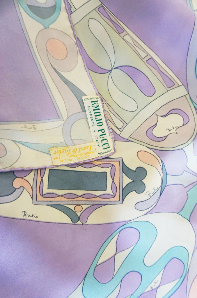 Early 1960s Soft Pastels Emilio Pucci Silk Twill Scarf