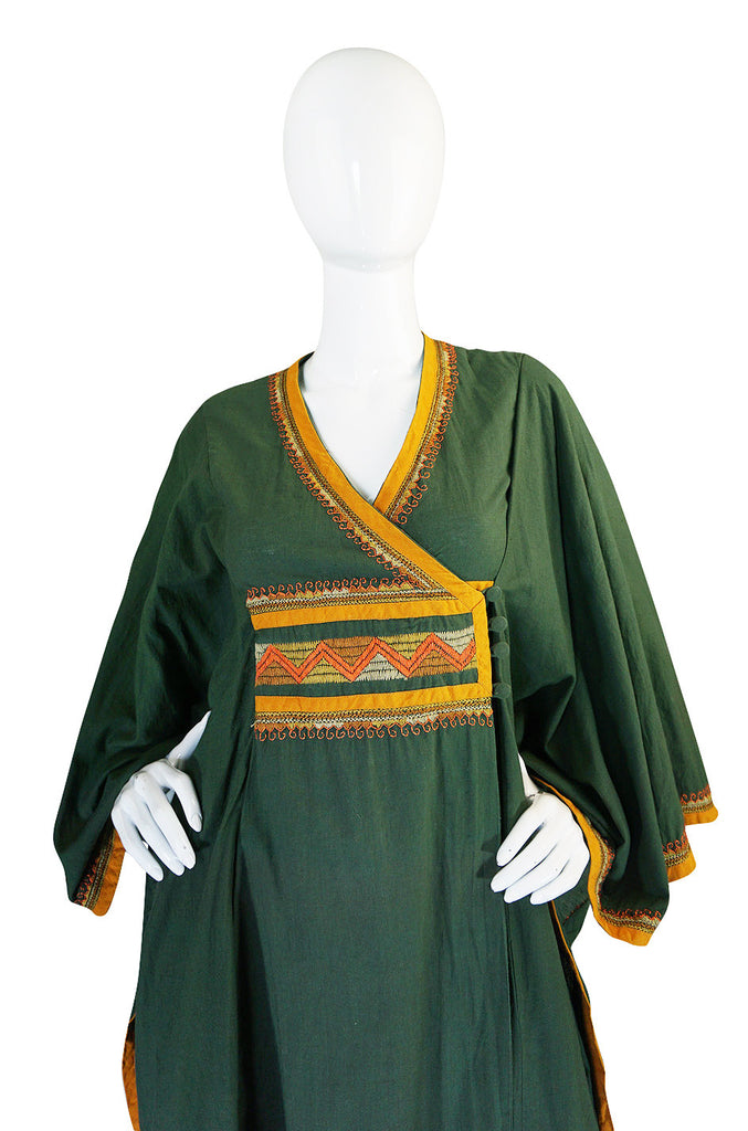 1960s Deep Green Embroidered Wrapped Cotton Caftan Dress