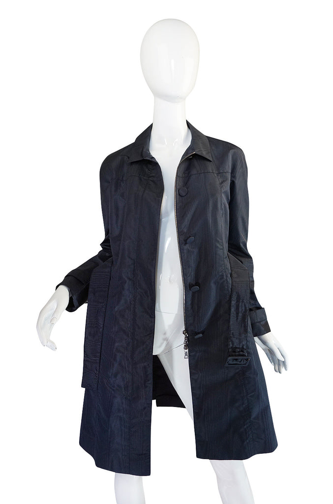 Recent Chic Prada Blue Silk Taffeta Spring Weight Jacket