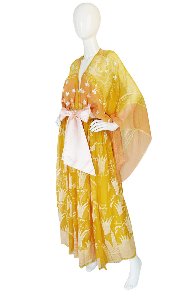 1974 Zandra Rhodes Lilies Peach & Pink Caftan Dress