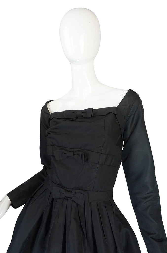 1950s Pretty Black Silk Suzy Perette Bow Dress