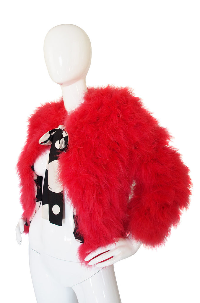 1970s Donald Brooks Cherry Feather Jacket