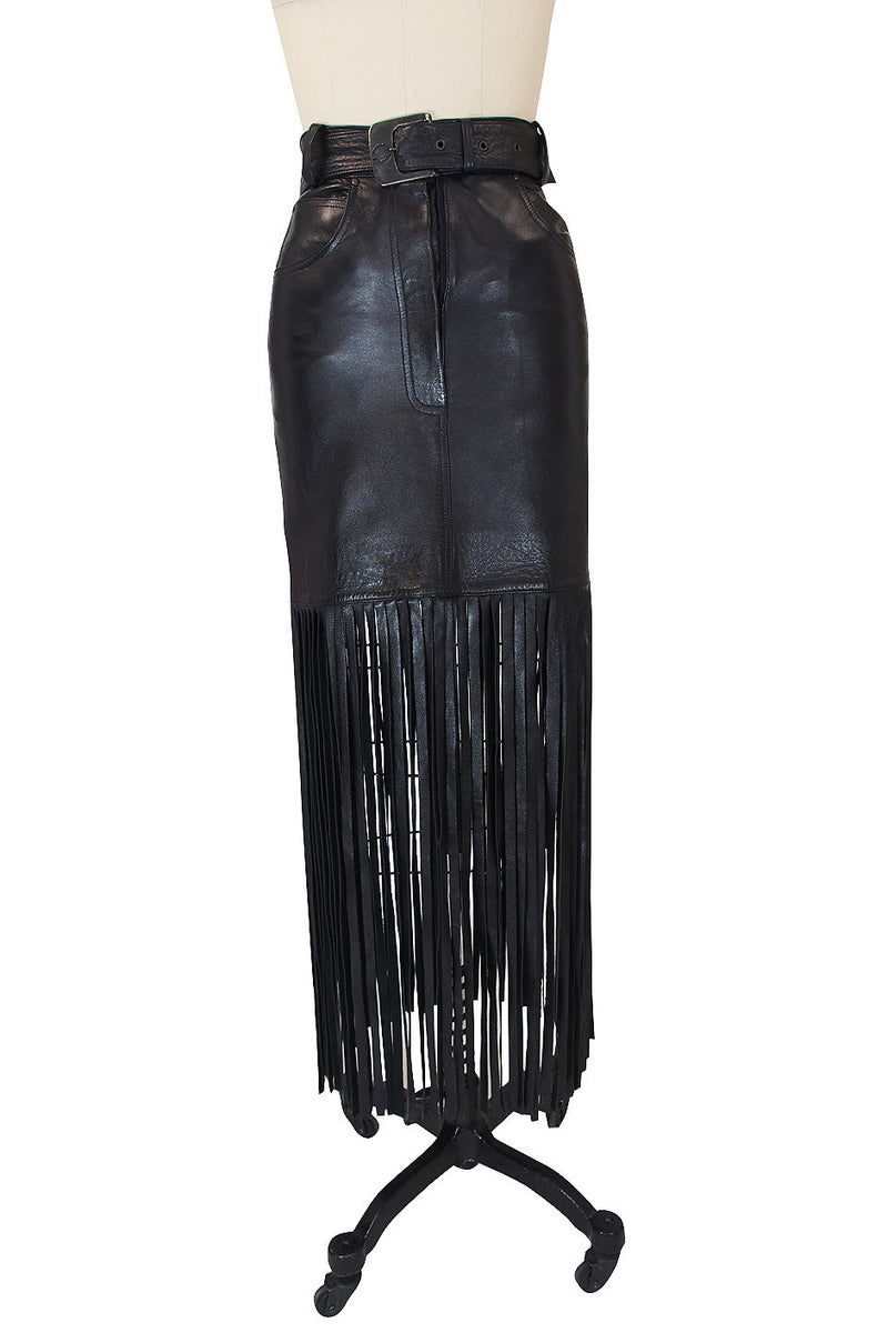 1990s Claude Montana Fringe Leather Skirt
