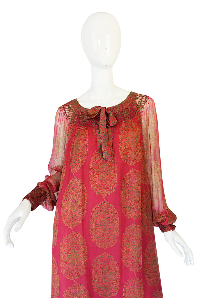 1970s Jeweled Hued Printed Silk Treacy Lowe Caftan Dress