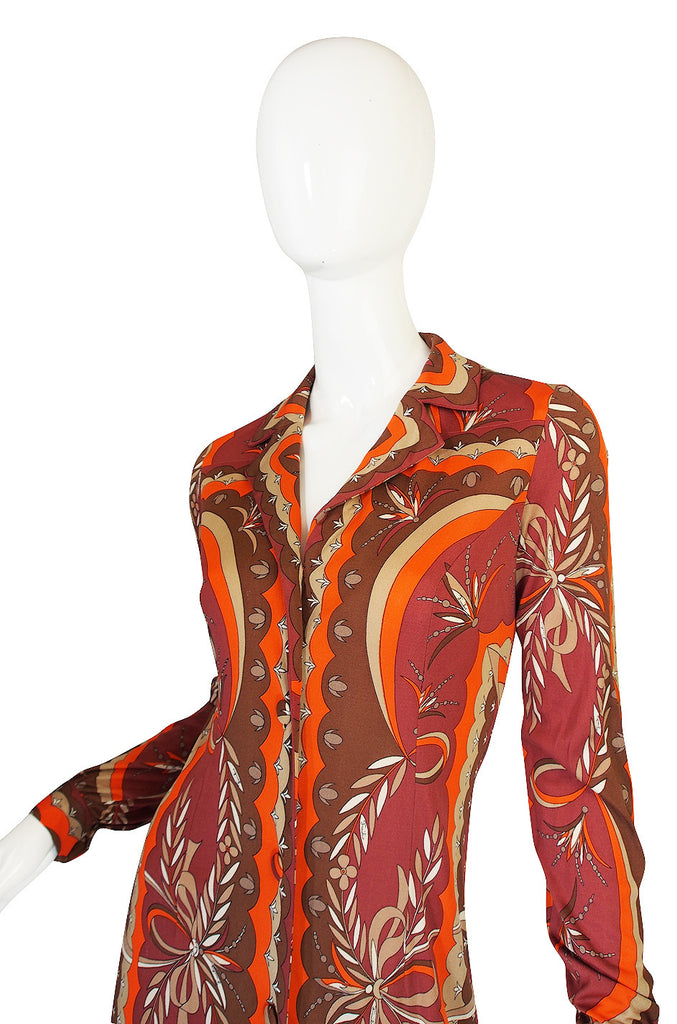 1960s Coral Print Pucci Silk Jersey Button Front Dress