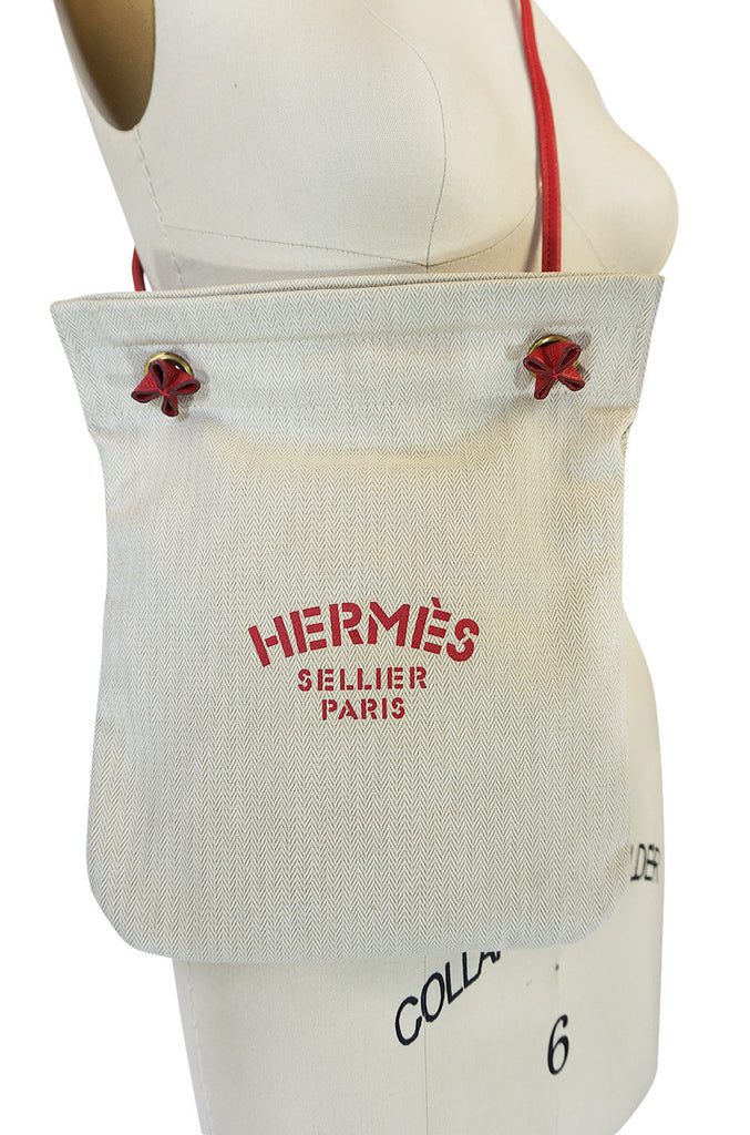 "Vintage Hermes ""Sellier Paris"" Red PM Canvas Shoulder Bag"