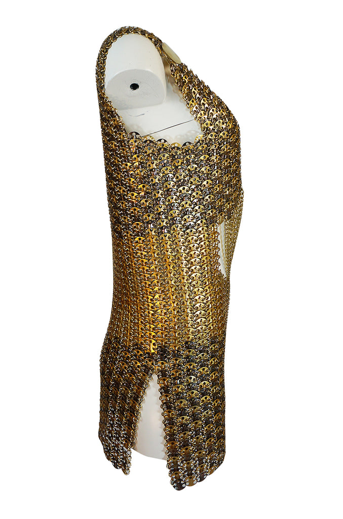 Iconic 1968 Paco Rabanne Chain Mail Dress in Silver & Gold Metal