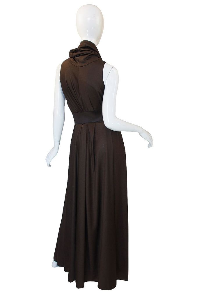 1970s Anne Klein Maxi Dress with Belt