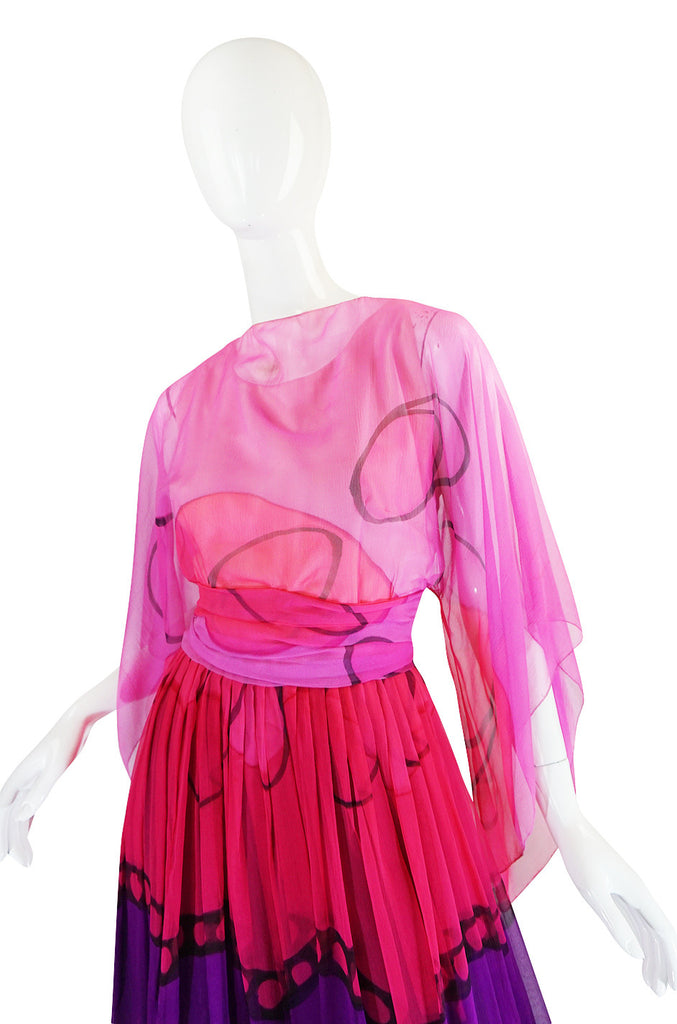 Ethereal and Pretty 1960s SIlk Chiffon Pink Print Dress