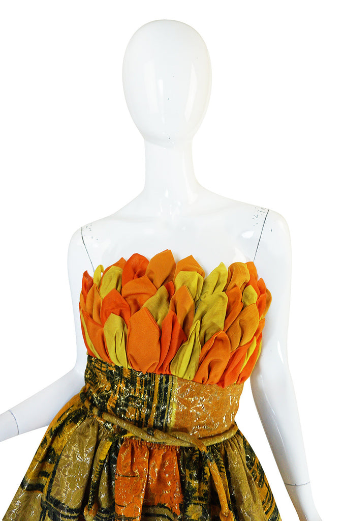 1960s Silk Leaf Bodice Metallic Cocktail Dress