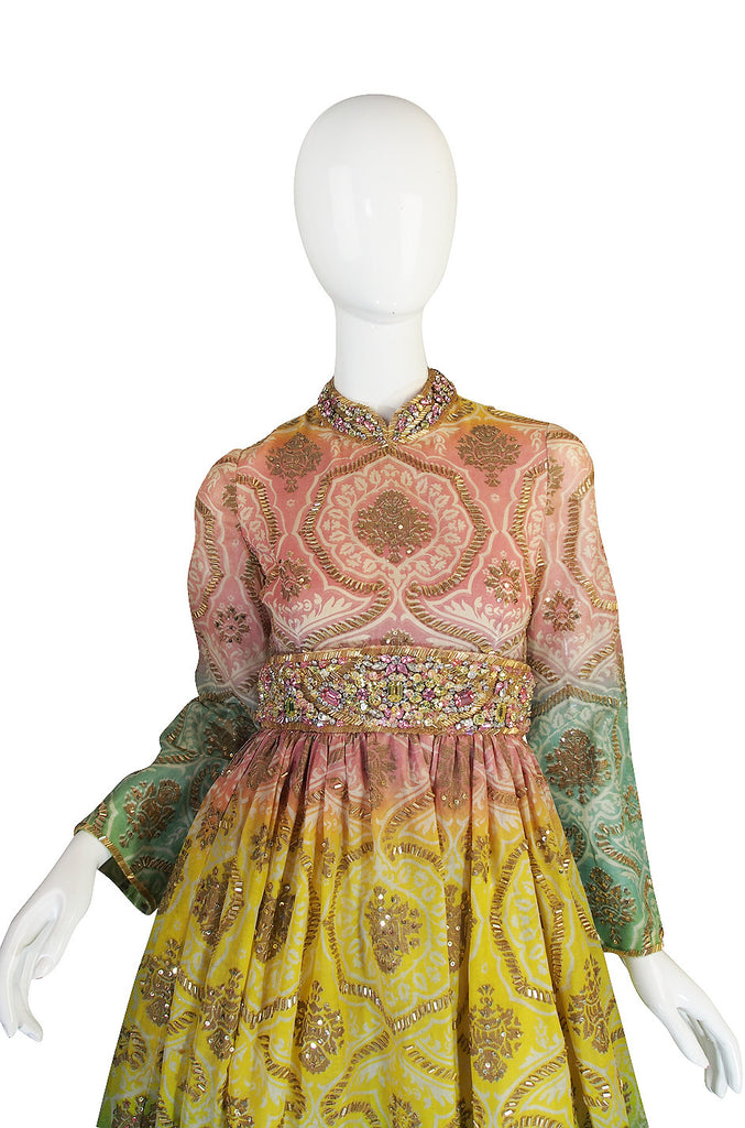 1960s George Halley Silk & Jewel Gypsy Gown