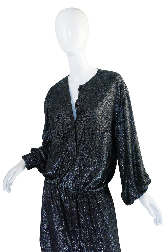 1980s Drop Waist Giorgio Sant Angelo Metallic Dress