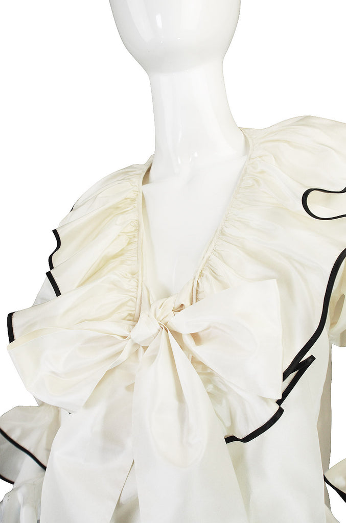 Iconic 1970s Yves Saint Laurent Silk Russian Top