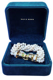 1970s David Webb Diamond Emerald Pearl Gold Platinum Bracelet
