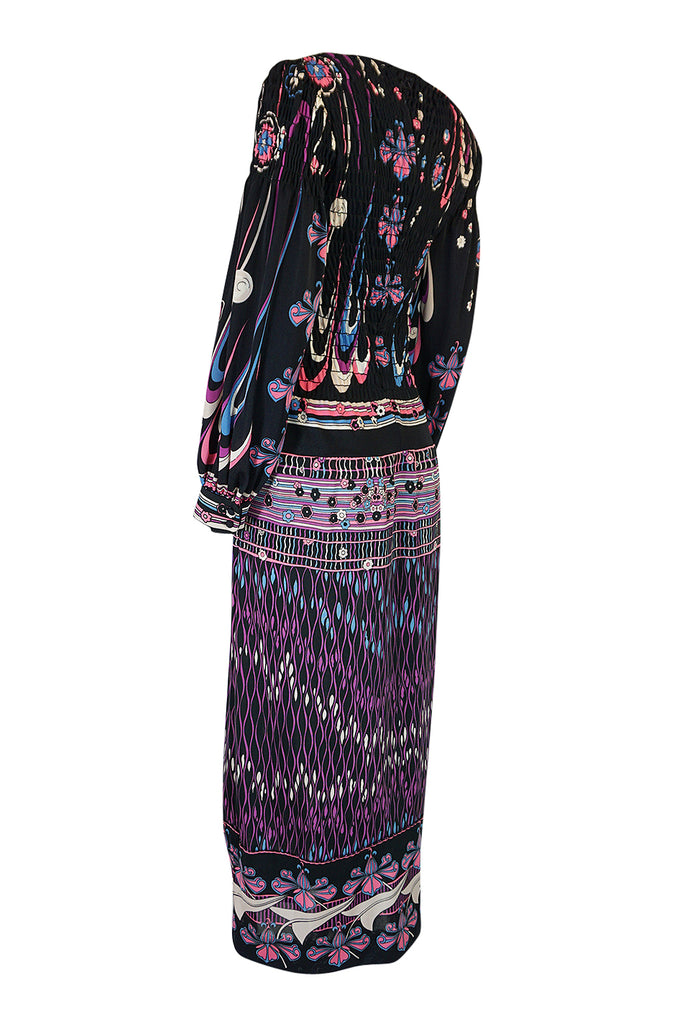 Unusual 1970s Paganne Smocked Jersey Printed Maxi Dress