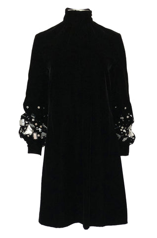 1960s Miss Dior Velvet Dress w Silver Sequin & Paillette Embellished Sleeves