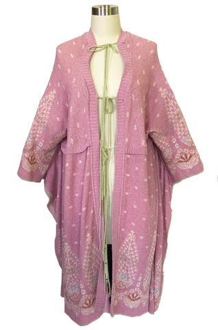 1970s Bill Gibb Patterned Knit Soft Pink Front Tie Poncho Cape Coat