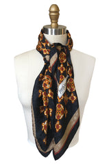 Large 1970s Yves Saint Laurent Geometric Print Silk Scarf