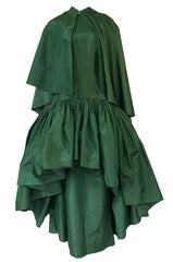 c1977 Madame Gres Haute Couture Deep Green Silk Taffeta Dress & Cape