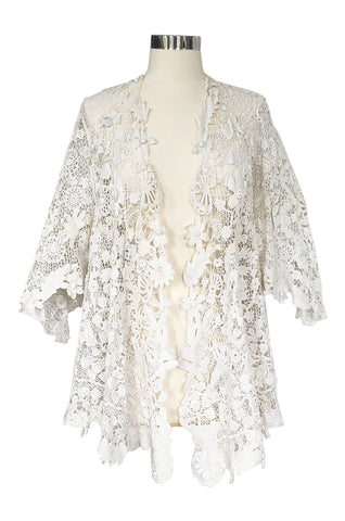 c.1900s Antique White Handmade Battenberg 3D Tape Lace Jacket